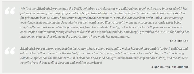 Art lesson testimonials