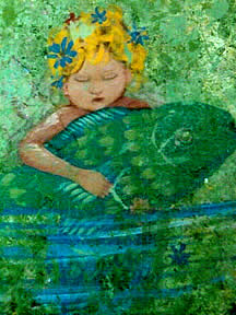 Baby Mermaid holding Fish