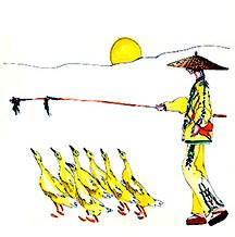 Geese Herder Illustration